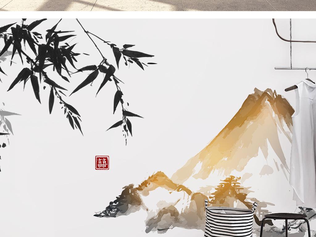 新中式手绘水墨竹子山水风景浮世绘背景墙