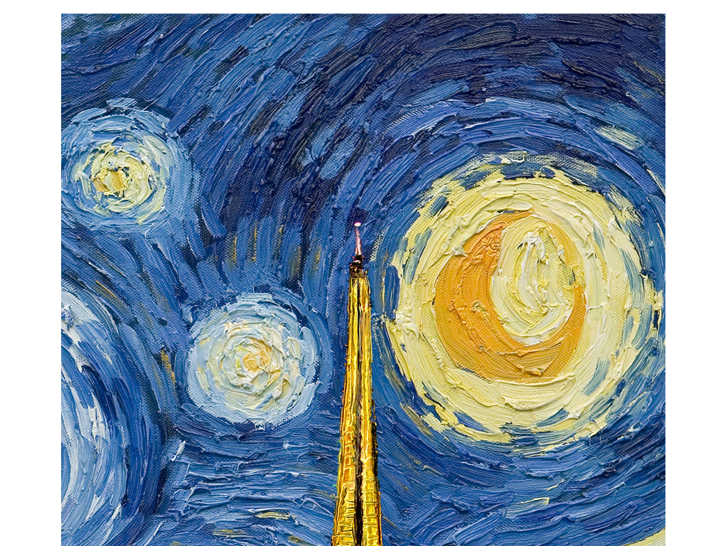 手绘埃菲尔铁塔玄关背景墙(图片编号:15771997)