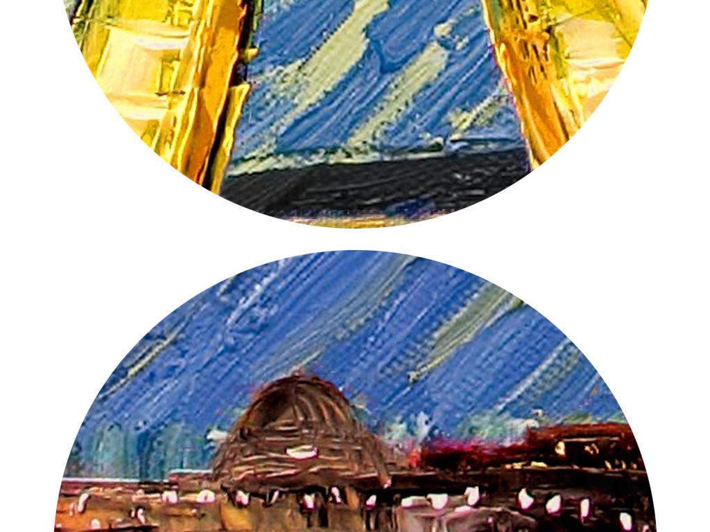 手绘埃菲尔铁塔玄关背景墙