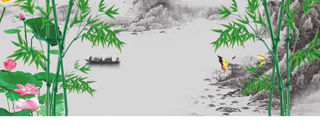 中式竹子水墨画背景墙山水画电视墙