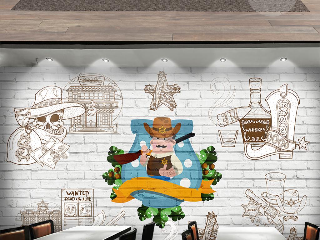 手绘卡通西部牛仔砖墙背景墙