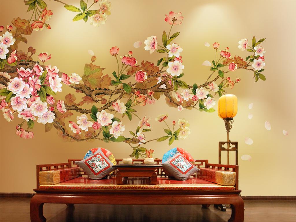 高清手绘花鸟电视背景墙壁画(图片编号:15772614)_墙