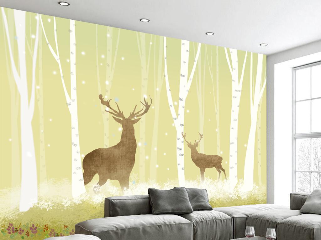 北欧风格麋鹿森林背景墙