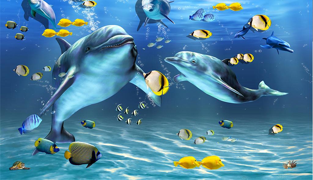 海底世界海豚鱼天顶吊顶壁画设计