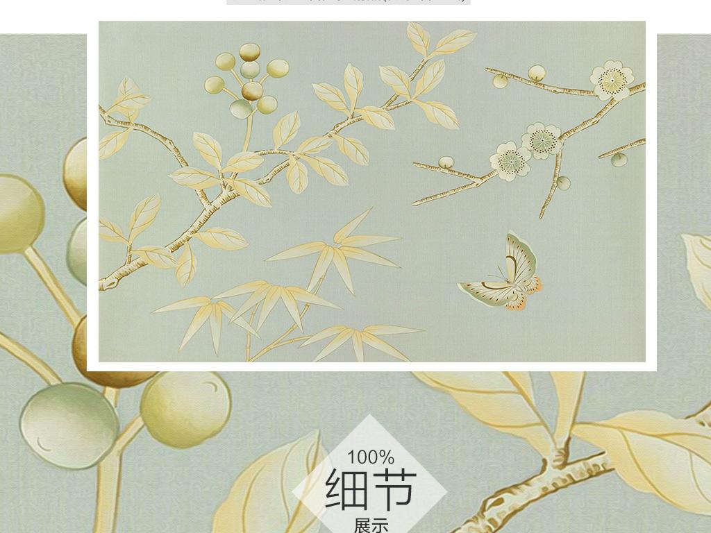 新中式手绘梅花电视背景墙