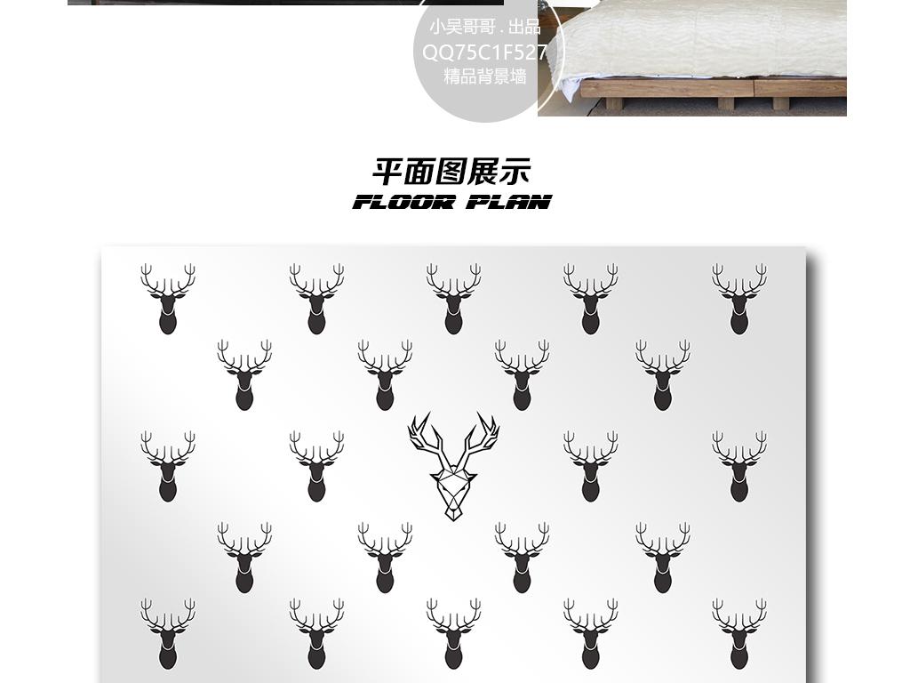 鹿头黑白手绘插画