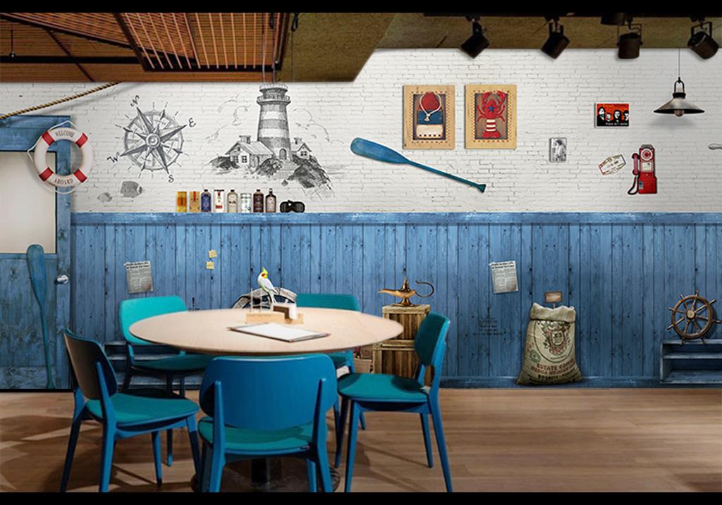 蓝色木板地中海背景墙