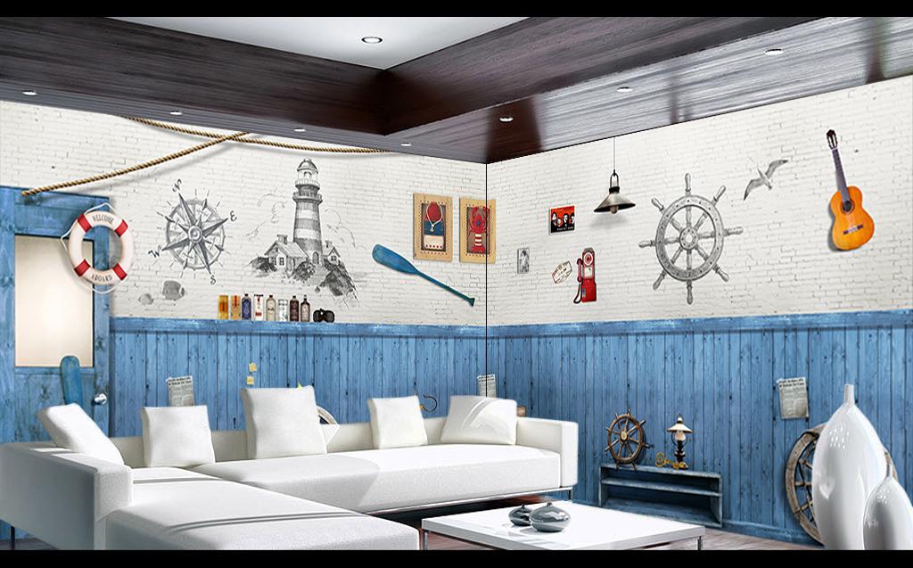 蓝色木板地中海背景墙图片设计素材_高清psd模板下载图片