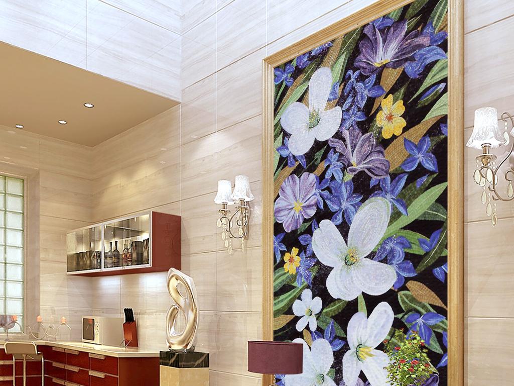 欧式花朵花卉马赛克拼贴玄关背景墙壁画图片设计素材图片