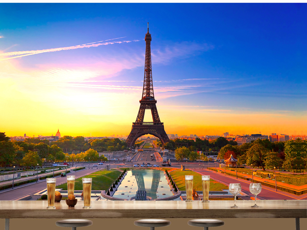 唯美浪漫法国巴黎埃菲尔铁塔风景背景墙