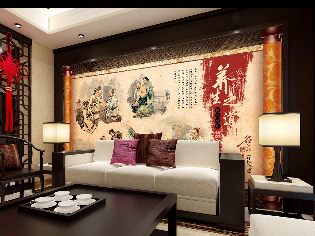 中式背景墙装修效果图工装中国风壁画壁纸电视背景墙中医养生手绘背景图片