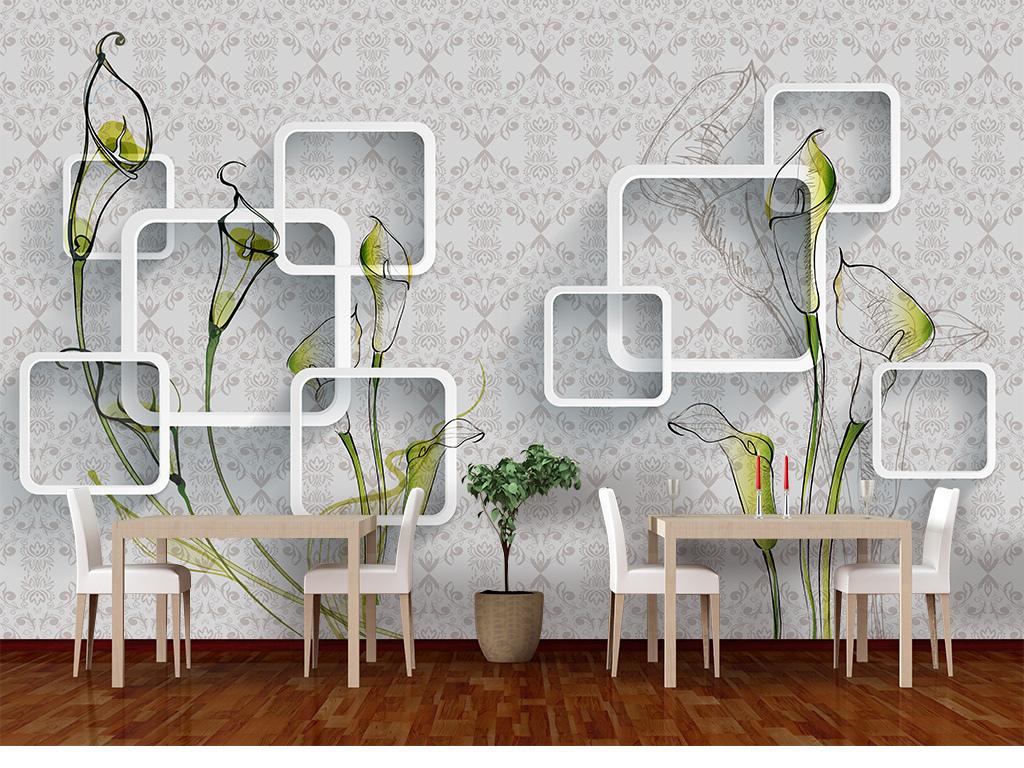 马蹄莲手绘3d电视背景墙装饰画