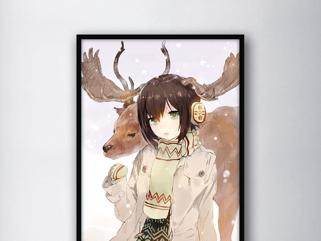 背景墙|装饰画 无框画 人物无框画 > 鹿角女孩复古可爱现代小清新水彩