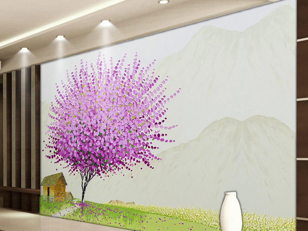 卧室沙发电视墙墙画装饰画抽象地中海田园欧式手绘