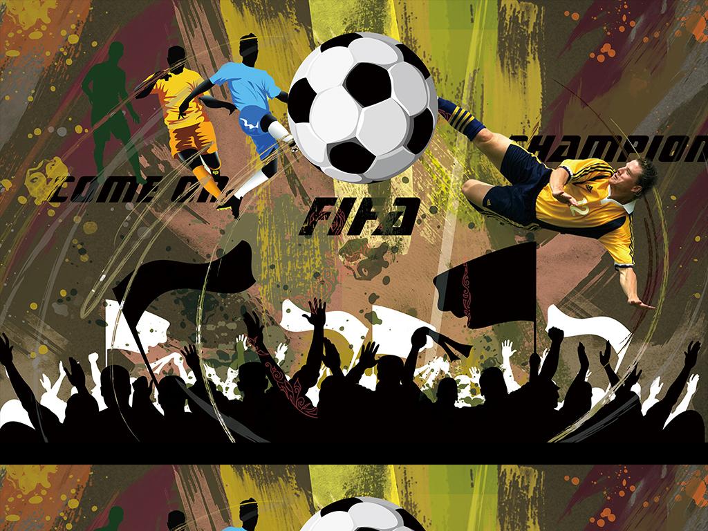 涂鸦手绘足球系列背景墙