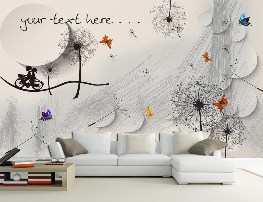 铅笔手绘蒲公英简约电视背景墙壁画(图片编号:)_现代