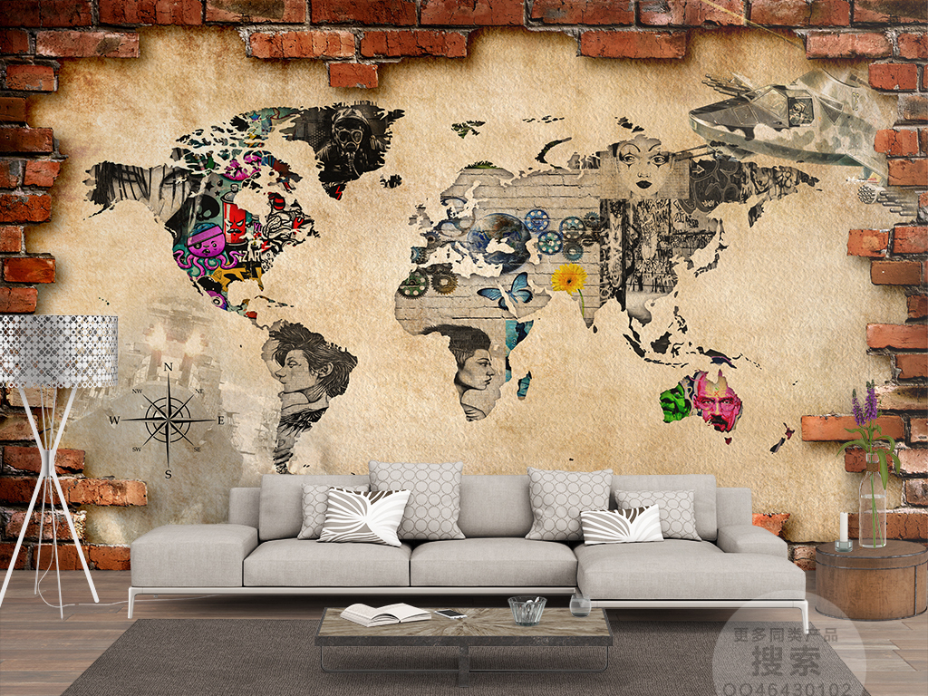 战争世界地图涂鸦立体红砖背景墙