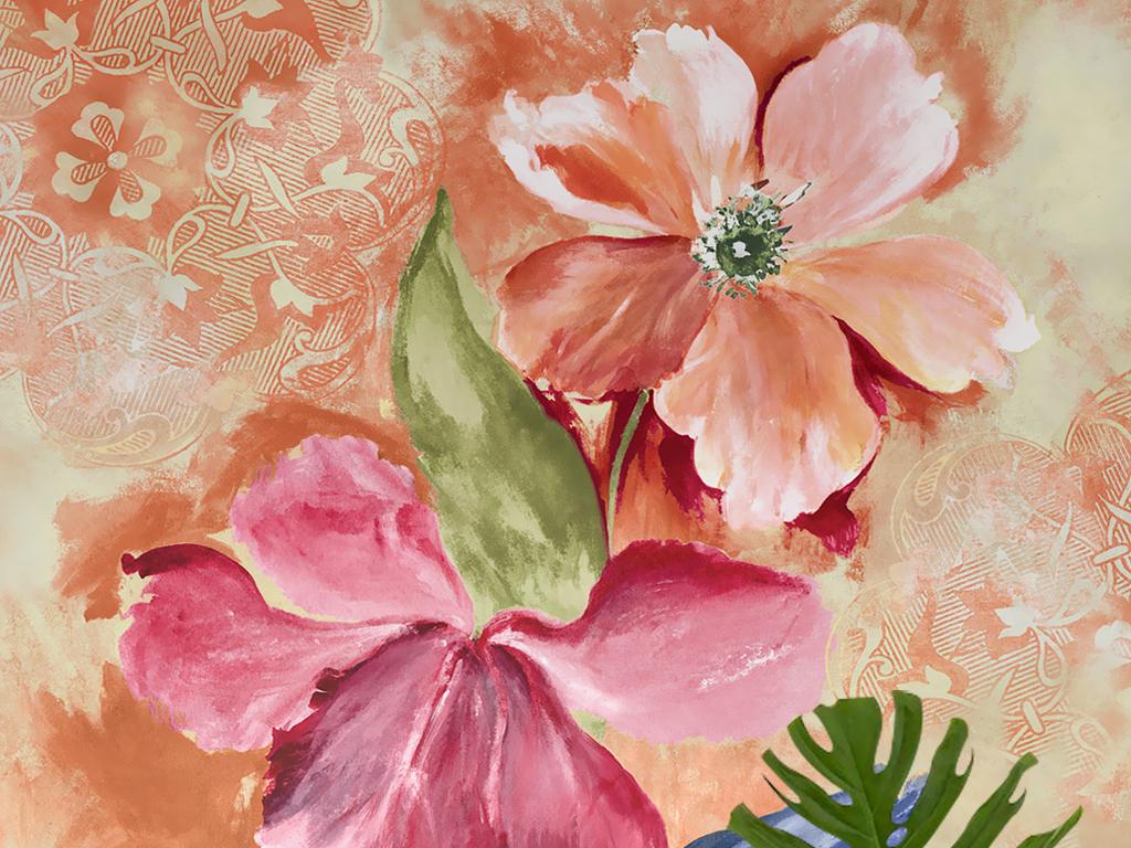 复古怀旧手绘花朵花卉油画玄关壁画背景墙