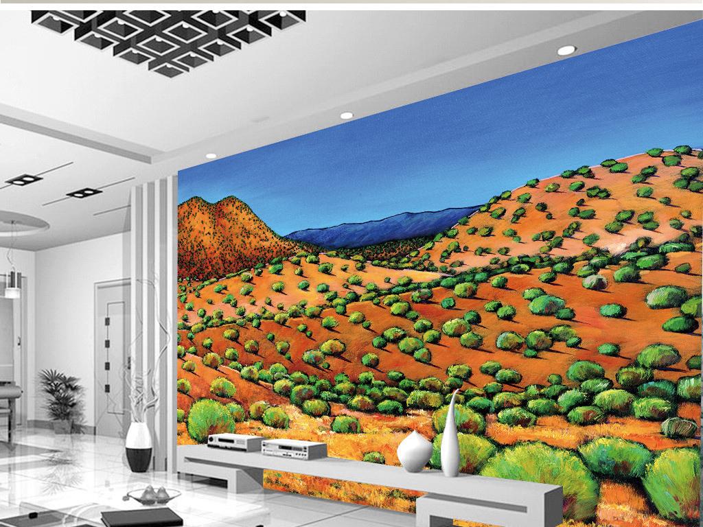 手绘热带山水植物油画背景墙
