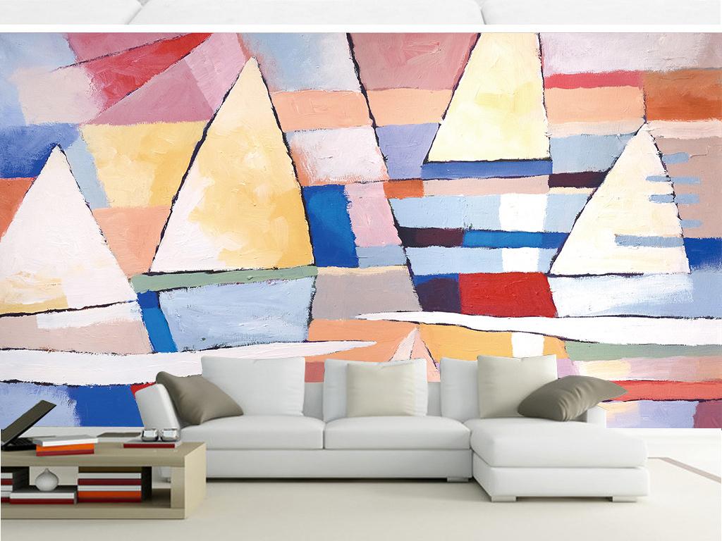 简约风景画抽象手绘背景墙卡通背景帆船卡通背景墙手绘背景抽象背景手