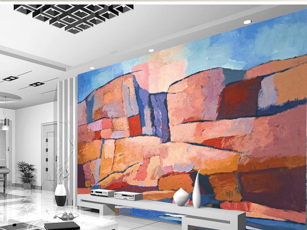 风景画油画手绘背景墙卡通背景卡通背景墙手绘背景手绘油画手绘卡通