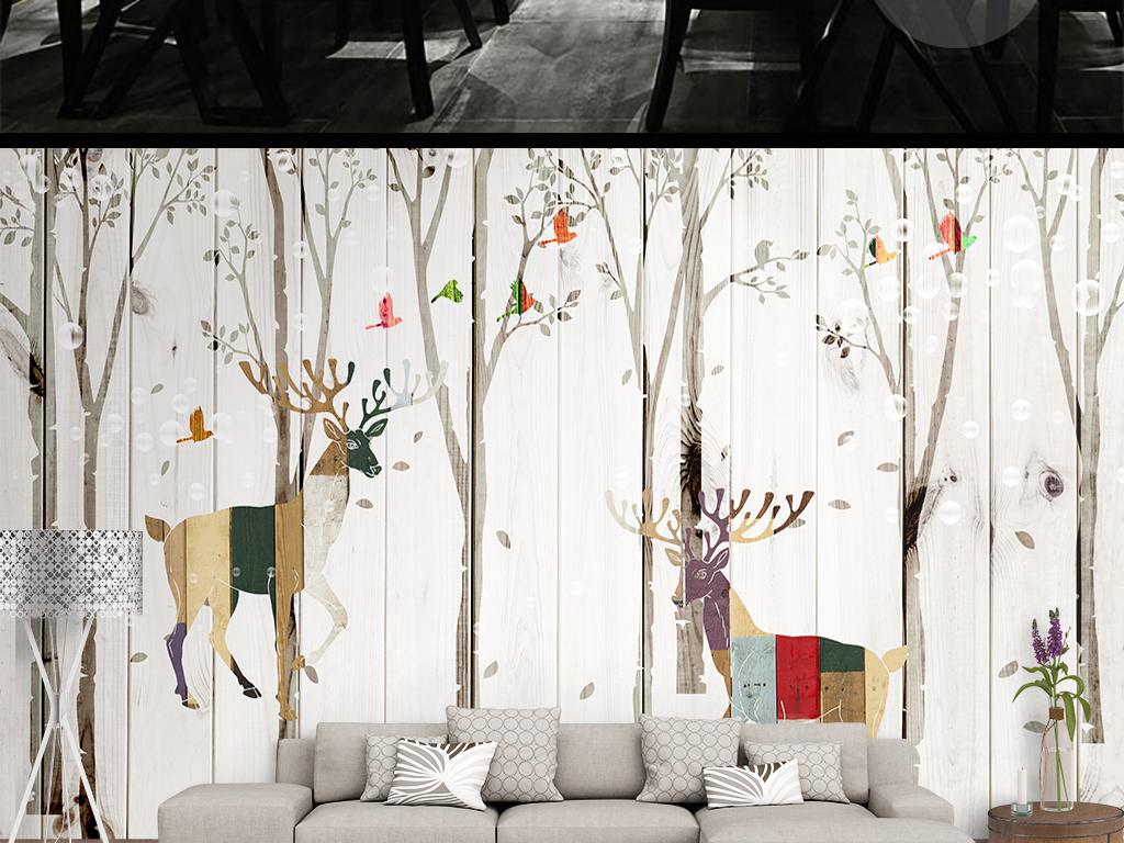 木纹麋鹿森林背景墙