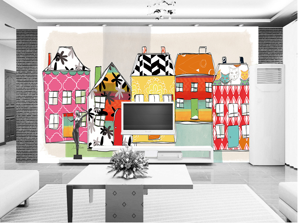 房子背景墙手绘卡通背景房子卡通电视背景墙图片玻璃电视背景墙图片