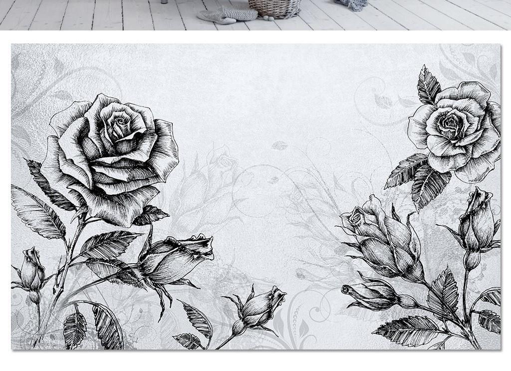 黑白线条素描玫瑰花现代北欧电视背景墙