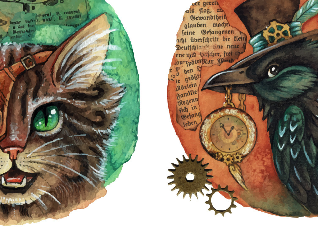 复古背景复古壁画动物壁画装饰设计动物背景复古动物水彩动物背景装饰