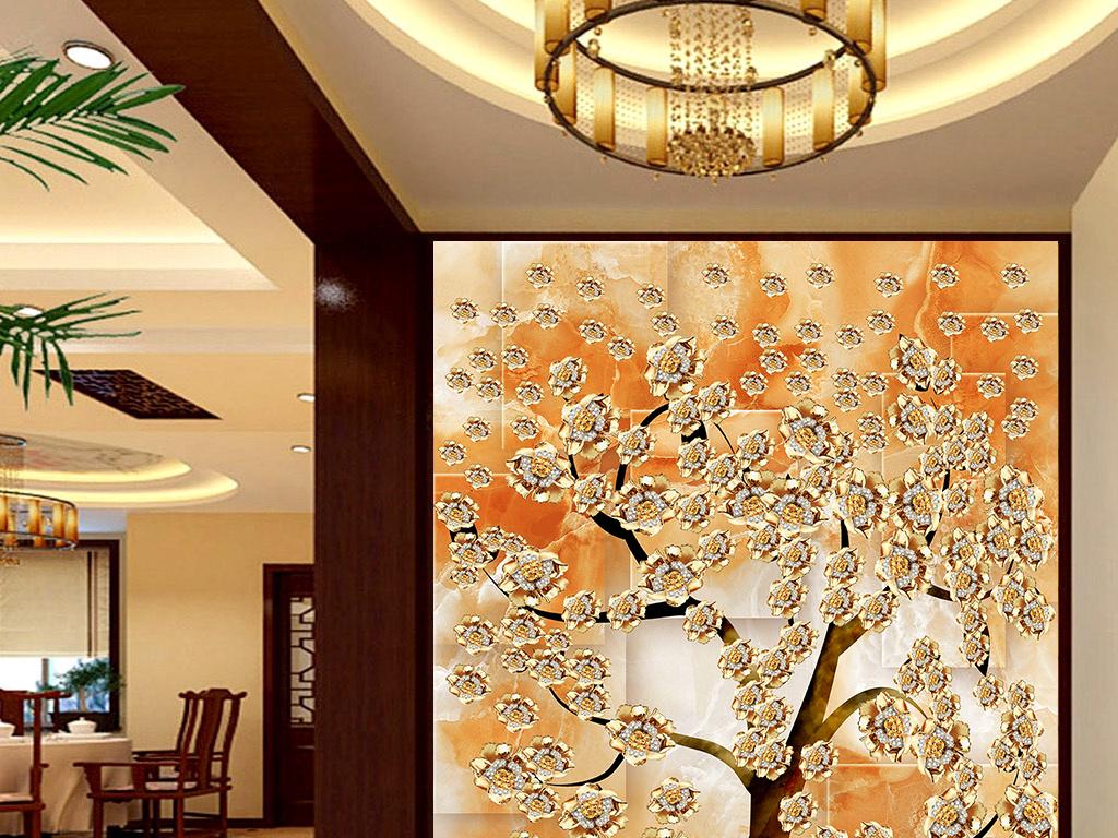 3D石纹黄金发财树玄关壁画背景墙图片