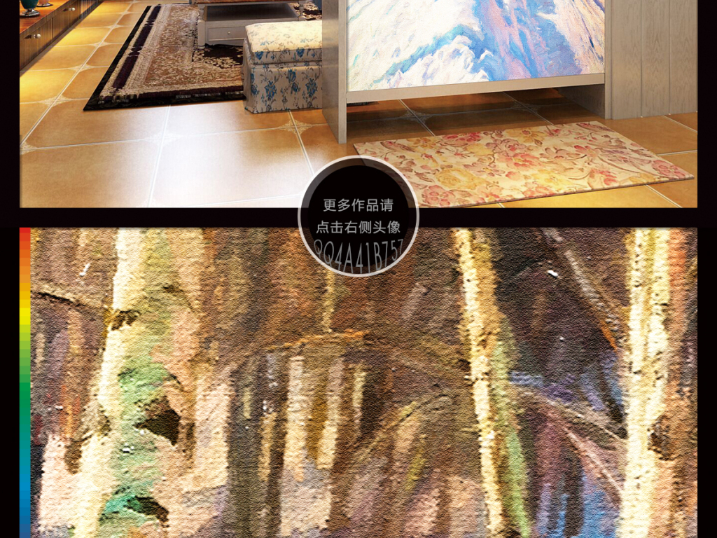 手绘高清水彩画欧式乡间小路风景画油画玄关