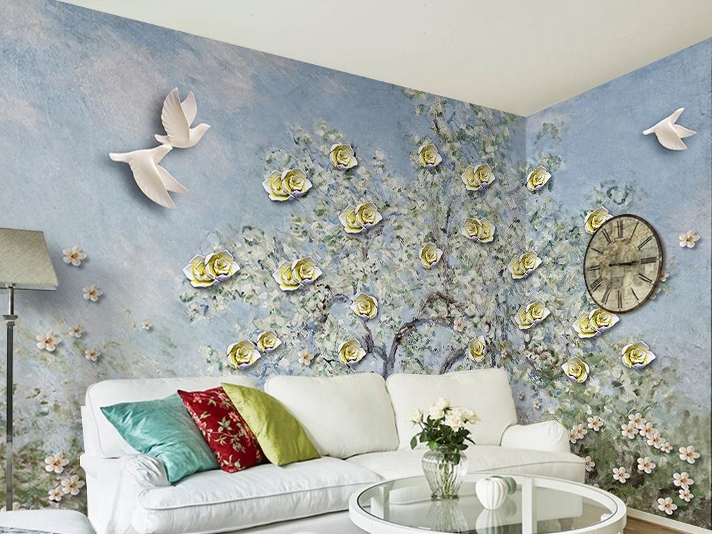 手绘立体油画抽象树背景墙
