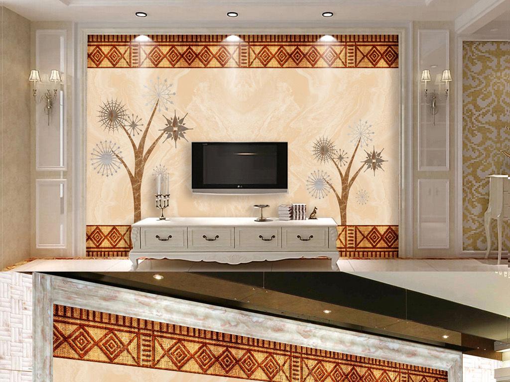 编织大理石瓷砖拼花电视沙发背景墙