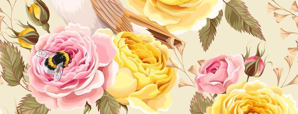 清新可爱手绘花鸟蝴蝶蜜蜂矢量模板