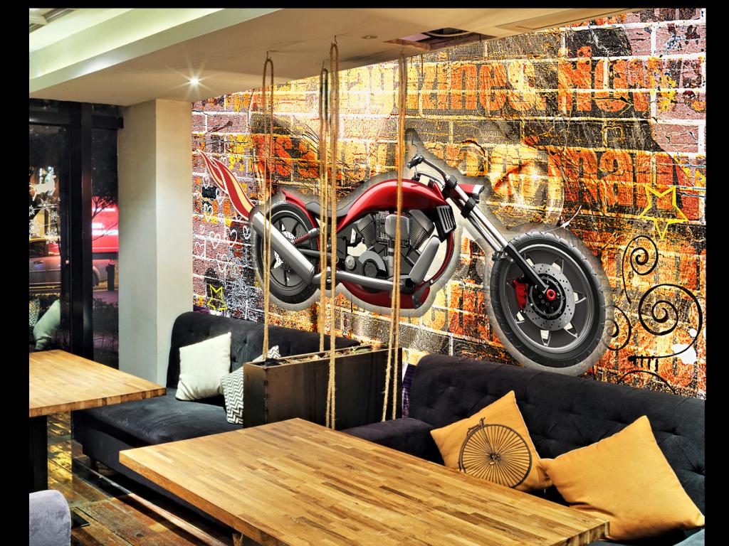 复古摩托车涂鸦3d背景墙