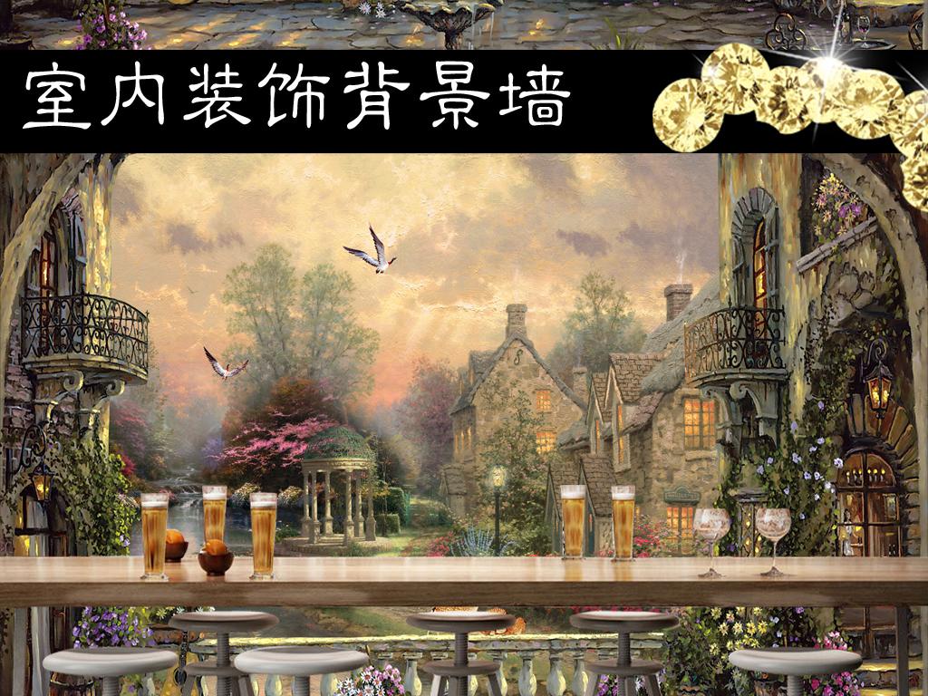 欧式复古油画建筑田园风景画背景墙图片