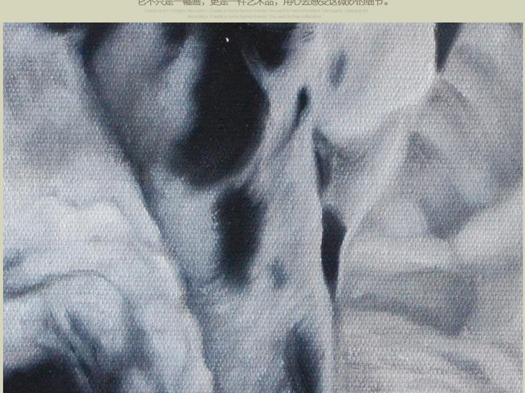 简约北欧纯手绘高清装饰油画狗狗