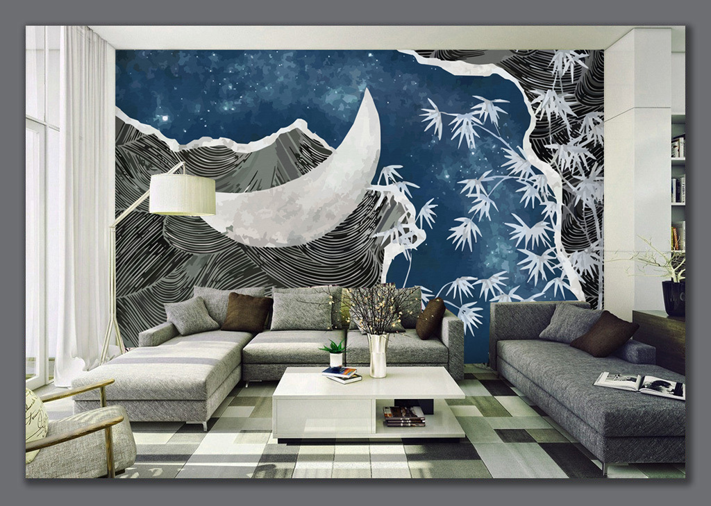 手绘月亮星空竹子背景墙