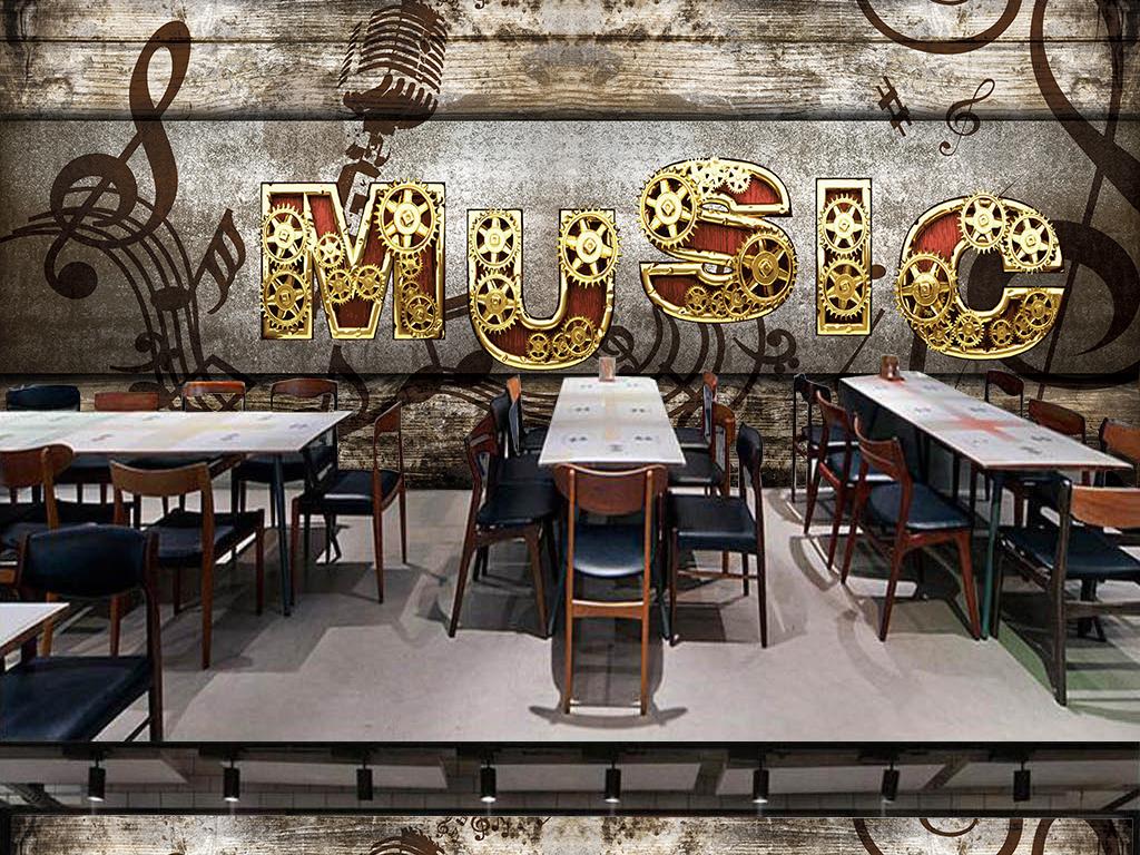 金属木板怀旧复古音乐系列背景墙