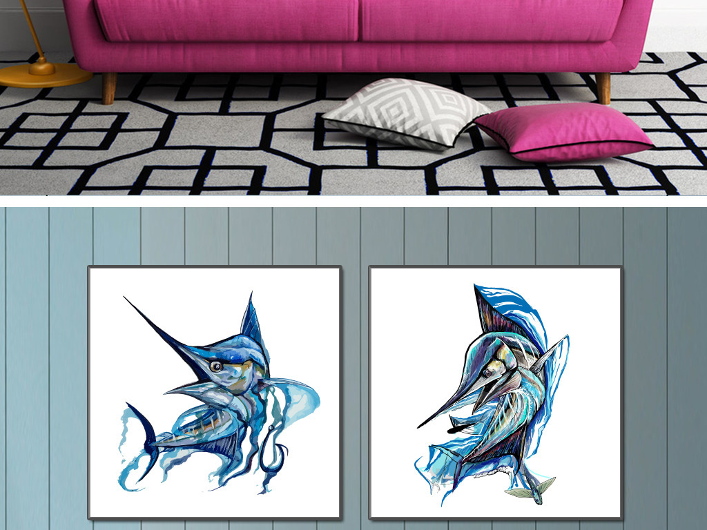 手绘水彩矢量剑鱼无框画