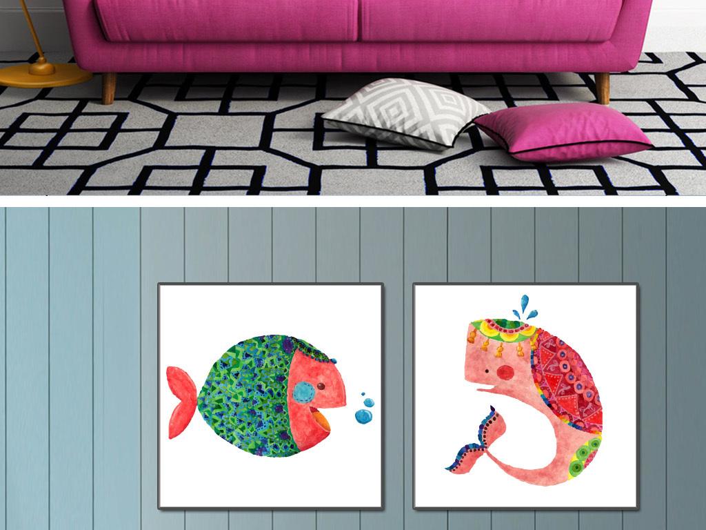 动物卡通手绘卡通动物动物手绘卡通手绘手绘水彩矢量无框画水彩墨迹水