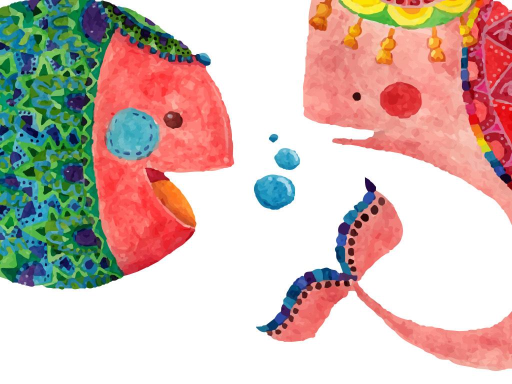 手绘水彩卡通动物矢量无框画