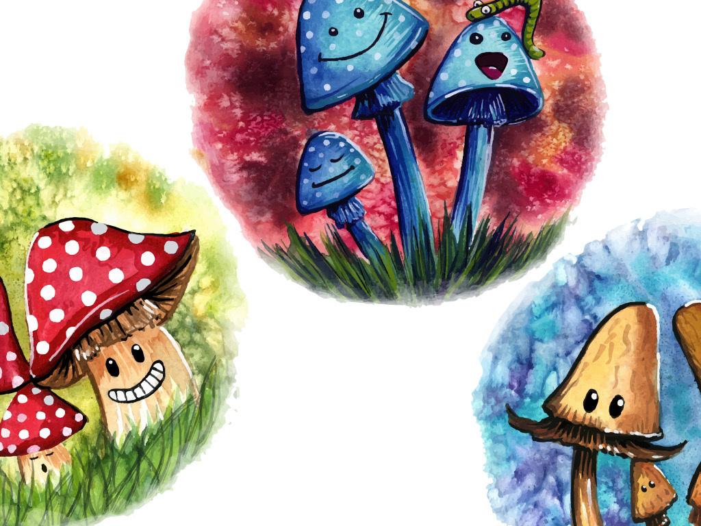手绘水彩蘑菇矢量无框画