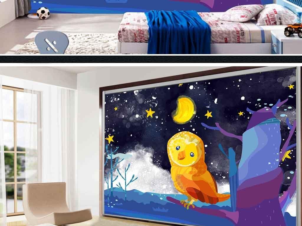 电视背景墙 儿童房背景墙 > 手绘卡通背景墙夜晚星空月亮猫头鹰装饰画