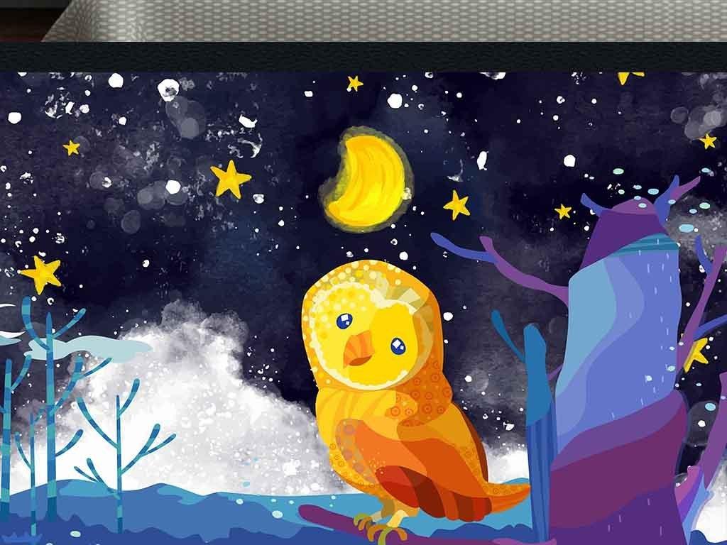 手绘卡通背景墙夜晚星空月亮猫头鹰装饰画