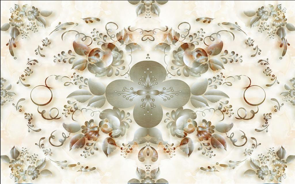 大理石纹拼花简欧风格3d背景墙电视墙设计图片
