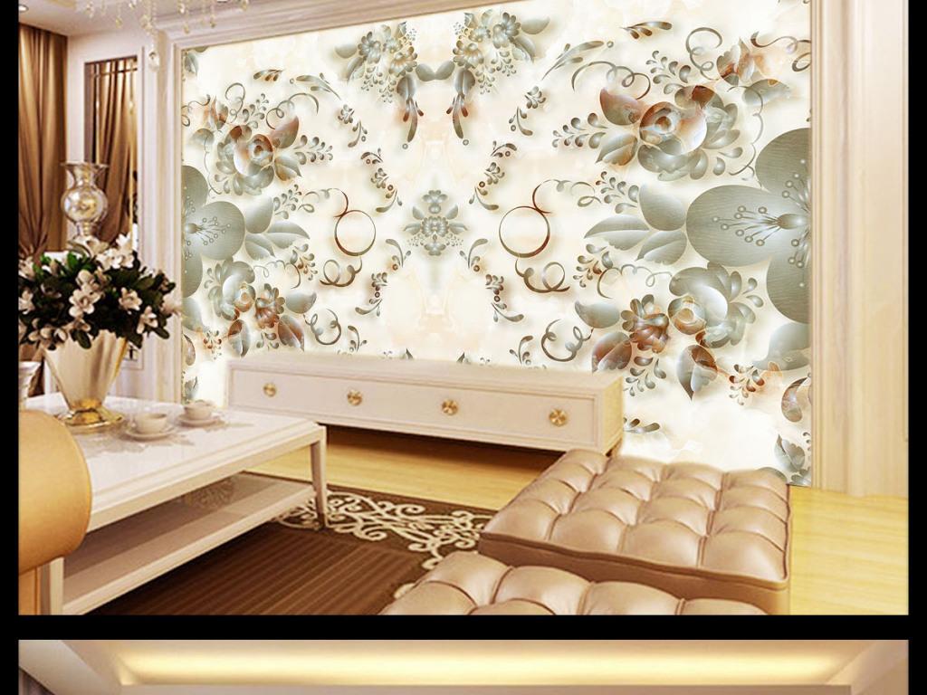 高清大理石纹欧式花纹拼花3d背景墙电视墙