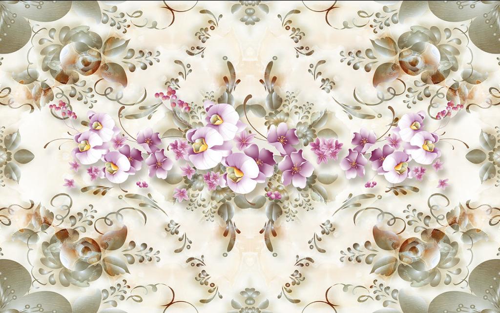 简欧风大理石纹欧式花纹玫瑰百合3d背景墙