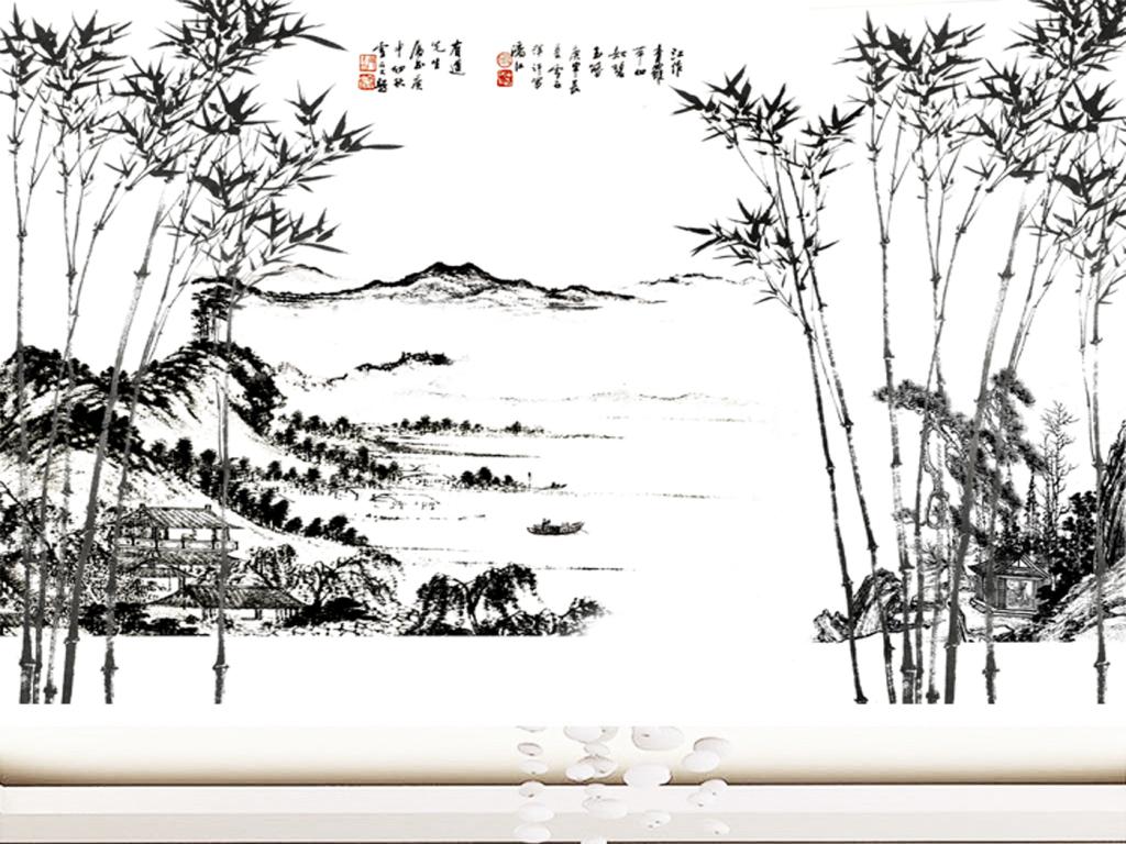 中式水墨竹山水风景创意背景墙壁画 位图, rgb格式高清大图,使用软件图片