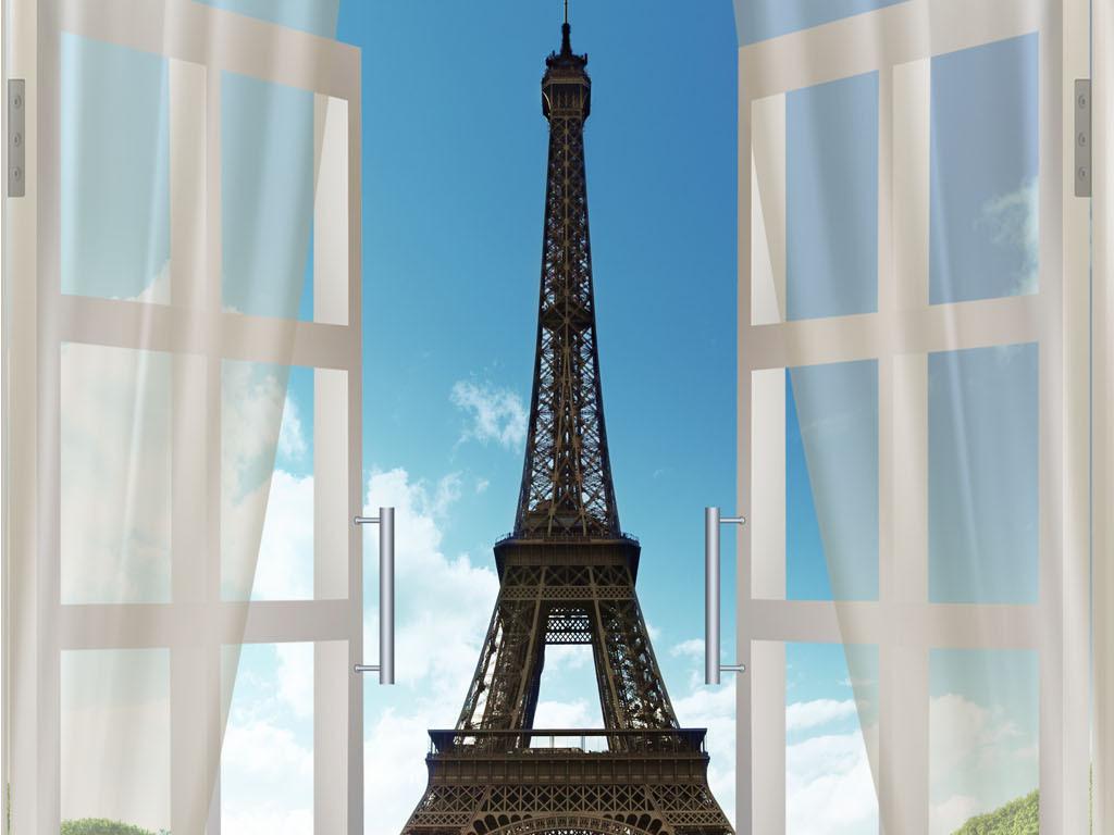 埃菲尔铁塔客厅移门效果图客厅效果图客厅电视背景墙